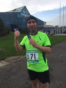 At the finish of the Portsmouth 50K Ultra Marathon